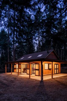a beautiful two stall barn in the woods