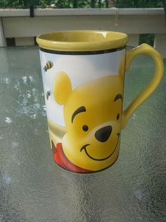 Pooh Collectible Disney Winnie The Pooh & Honey Bees Large Mug Cup Yellow in Collectibles, Disneyana, Contemporary (1968-Now) | eBay