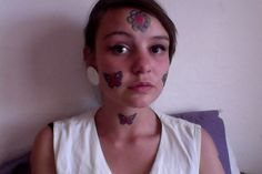 Girl With Tattoo On Face Girl Face Tattoo, Face Tattoos, Girl Tattoos, Chokers, Tattoo Women, Tattoo Girls, Portrait Tattoos, Tattooed Girls, Female Tattoos