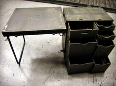 Military Spec. Field Desks on GovLiquidation. These would be great for the garage, shed, Man Cave or a boys room!