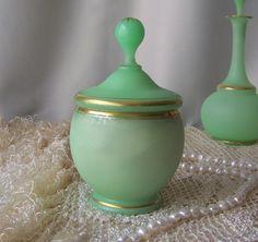 Antique Vanity Jar Art Deco Satin finish Tiffin by cynthiasattic