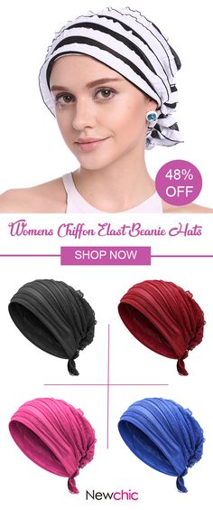 Womens Chiffon Solid Color Best Elast Beanie Hats Casual Outdoor Vacation Chemo Cap #hat #cap #style