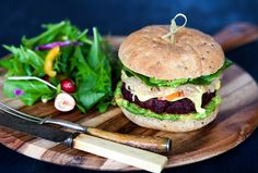 Beetroot Burger with Turmeric Mayo and Slaw. Vegan and Gluten Free Recipe. Beetroot Burgers, Beet Burger, Salmon Burgers, Vegan Gluten Free, Gluten Free Recipes, Vegan Recipes, Vegan Food, Turmeric, Spicy
