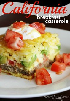 For Mothers Day Brunch - California Breakfast Casserole with Turkey Sausage, Fresh Tomatoes, Avocados, Eggs and Cheddar Cheese - The prepackaged hashbrowns and turkey sausage patties could be replaced with a homemade versions. Breakfast Desayunos, Breakfast Dishes, Breakfast Recipes, Frozen Breakfast, Nutritious Breakfast, Breakfast Ideas, Healthy Breakfast Casserole, Dinner Recipes, Overnight Egg Casserole