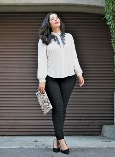 Love this outfit! Would change the clutch for a pink or coral colour but this is definitely an outfit I would wear. Business Professional Outfits, Business Casual Outfits For Women, Business Fashion, Curvy Girl Fashion, Work Fashion, Plus Size Fashion, Fashion Outfits, Look Plus Size, Plus Size Women
