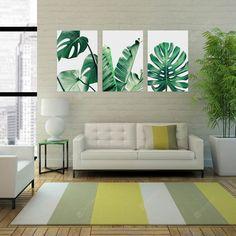 Leaves Unframed Art Wall Canvas Prints for Home Decorations 3 PCS canvas wall art - Wall Art Wall Art Sets, Wall Art Decor, Room Decor, Decor Diy, Diy Canvas, Canvas Wall Art, Canvas Prints, 3 Canvas Painting Ideas, Best Decor