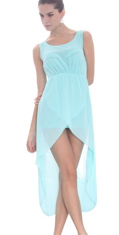 Light #Green Scoop Neck Sleeveless #Asymmetrical Mid Waist #Chiffon #Dress