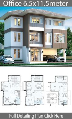 Office House design plan Style modern House description: Number of floors 3 storey house bedroom 1 room toilet 3 rooms maid's room Office Building Plans, Building Design Plan, Home Design Plans, Building A House, Building Layout, Office Layout Plan, Home Office Layouts, Home Office Design, Office Plan