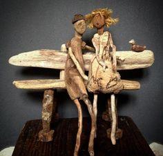 Evator Driftwood Sculpture, Driftwood Art, Wooden Sculptures, Twig Art, Driftwood Projects, Sea Crafts, Found Art, Adult Crafts, People Art