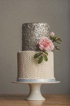 Pearls and Sequin's wedding cake  ~ Sugar rose and all edible