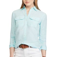 Women's Chaps Plaid Twill Button-Down Shirt, Size: Medium, Blue
