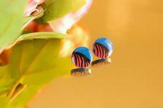 Lichen - Decoupaged Wooden Stud Earrings – Naoi