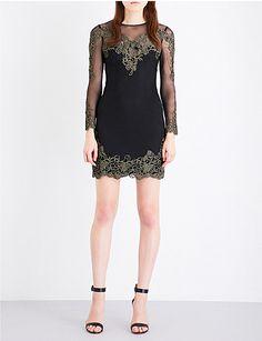 KAREN MILLEN Embroidered mesh mini dress