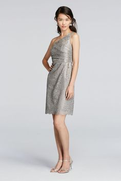 2286e9bdc78 Short One Shoulder All-Over Metallic Lace Dress Metallic Lace