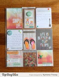 Flip Flops (TDD) Pocket Letter was created with Top Dog Dies Flip Flop Die set and Simple Stories Summer Vibe pattern paper.