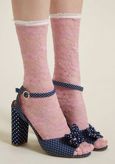 Whoever dares to challenge the sophistication of lace can kiss your pink socks! Dainty white trimmings top this pretty pair, as a sheer, floral motif. Sheer Socks, Lace Socks, Socks And Heels, Yellow Socks, Pink Socks, Unique Socks, Business Outfits, Business Clothes, Designer Lingerie