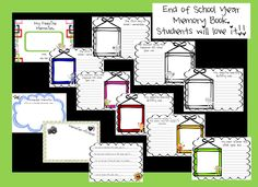 End of Year Memory Book Includes:   End of Year Memory Book for Kids! Incorporate Writing in a fun End of the School Year Memory Book Activity. Students will love writing down their school year memories and writing in their friends' message pages. It is optional to have students include real photographs or sketch a picture of each memory. A fun filled educational activity!