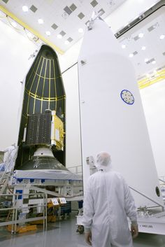 The U.S. Air Force's ninth Global Positioning System (GPS) 2F satellite, GPS 2F-9, is encapsulated in the Delta 4 rocket's four-meter-diameter nose cone at a processing facility and then moved to the launch pad at Complex 37 for mating to its booster inside the mobile service tower.