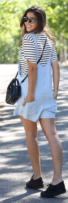 Zara Baby Blue Women's Denim Loose Short Overall by TrendyTaste