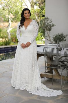 Curvy Enchanting-Plus size wedding gowns Seline by studio levana plus size all lace wedding dress with an A line skirt and a gental belt and long lace sleeves. Wedding Gown Images, Maggie Sottero Wedding Dresses, Wedding Dress Sleeves, Long Sleeve Wedding, Lace Sleeves, Gown Wedding, Vintage Wedding Gowns, Wedding Photos, Dress Vintage
