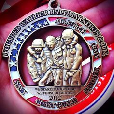 Wounded Warrior Half Marathon Medal I have to get this one. I always do WW for my charity miles. Marathon Plan, Sports Medals, Virtual Run, Running Medals, Workout Results, Wounded Warrior, Run Disney, Running Motivation, Racing