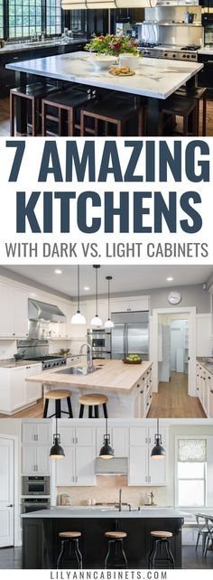 Light and airy, or dark and moody? You choose! Check out these 7 gorgeous kitchens that demonstrate dark and light kitchen cabinet decor can be equally gorgeous! Visit LilyAnnCabinets.com to explore a premium selection of light and dark cabinets for 50% off box store pricing. | #KitchenCabinets | Lily Ann Blog | Dark Cabinets | Light Cabinets | Black Cabinets | White Cabinets | Dark Kitchen | Light Kitchen | White Counters | Backsplash | Grey Floor | Black Appliances