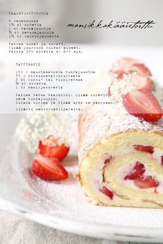 strawberries and cream roulade Strawberry Sweets, Strawberries And Cream, Recipe Cards, Food Styling, Baking Recipes, Panna Cotta, Treats, Fruit, Vegetables