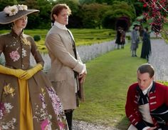 """Claire Fraser (Caitriona Balfe), Jamie Fraser (Sam Heughan) and Black Jack Randall (Tobias Menzies) in Episode 205 """"Untimely Resurrection"""" of Outlander Season Two on Starz"""