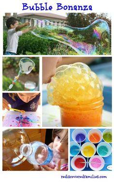 Who loves bubbles? The Ultimate List of Bubblelicious Activities http://rediscoveredfamilies.com/2015/05/bubble-bonanza/?utm_content=bufferb5250&utm_medium=social&utm_source=pinterest.com&utm_campaign=buffer #summer