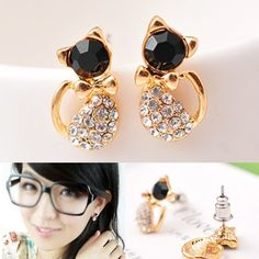 2015 Fashion Gold Small Earring Full Rhinestone Cat Earrings For Women Lovely Brinco Pequenos De Ouro Pusety Jewelry C3R6