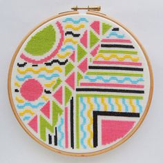modern cross stitch 'Art Deco Doodle'. by HawthornTreeDesigns