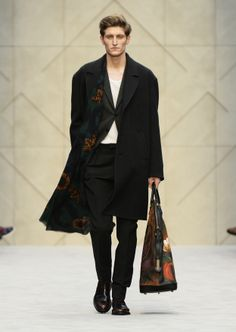 Herringbone wool caban with vine print cashmere scarf and The St Ives bag in hand-painted suede