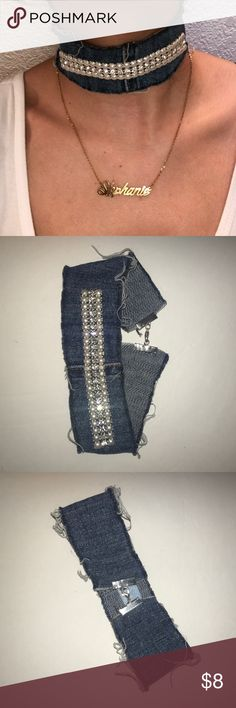 Denim Choker with Rhinestone And Pearl detail Choker , glam up any outfit with this piece , wear it with leggings and vans or a cute silky dress and heels!! Jewelry Necklaces