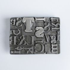 Belt Buckle from Seattle-based Steel Toe Studios. This is the Multifont Belt Buckle Pewter.