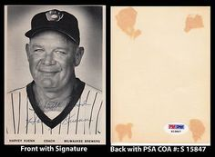 """Harvey Kuenn Signed 4x5 Photo PSA COA 1952-66 Tigers Giants Indians Brewers . $45.00. All Star Major League Outfielder, Shortstop and Third Baseman ManagerHarvey KuennHand Signed 4x5"""" Black and White PhotographKuenn Played For:Detroit Tigers 1952-1959Cleveland Indians 1960San Francisco Giants 1961-1965Chicago Cubs 1965-1966Philadelphia Phillies 1966Kuenn Managed:Milwaukee Brewers 1975, 1982-1983 .GREAT AUTHENTIC HARVEY KUENN BASEBALL COLLECTIBLE!!AUTOGRAPH AUT..."""