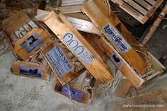 Old wooden boxes.. with original company labels from Pennsylvania Horse and Carriage  Companies.  www,carafdesigns,com