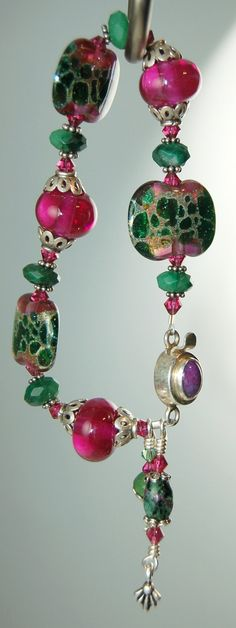 Jade, Ruby and Artisan Lampwork Wrist Candy by celestialbeads, $60.00.