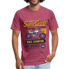 SuperCross - Fitted Cotton/Poly T-Shirt by Next Level – Affinity Home Vibes Fabric Weights, Tees, Fitness, Sports, Cotton, Mens Tops, T Shirt, How To Wear, Fashion