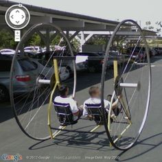 A very DIFFERENT kind of bicycle at Googleplex - the headquarters complex of Google in Mountain View, Santa Clara County, California