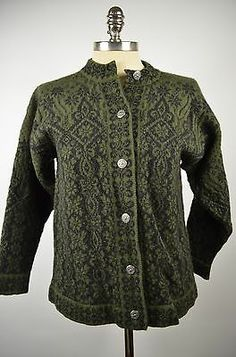 Dale Norway Classic Nordic Green Black Wool Cardigan Sweater Silver Buttons M | eBay