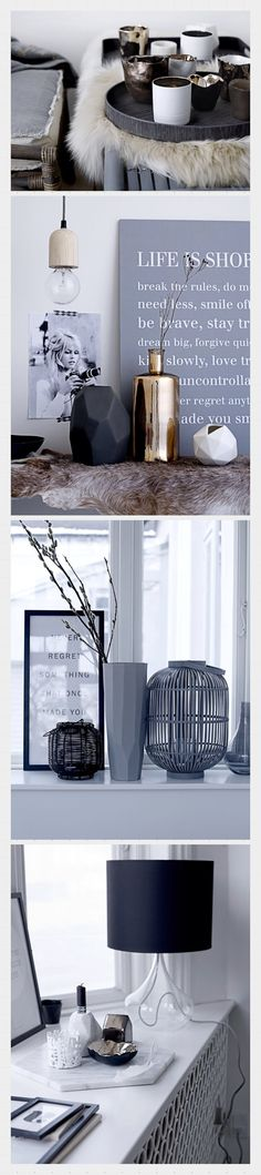 Bloomingville interior love www.bloomingville.com JUST DISPLAY YOUR COLLECTION. THAT FUR RUG MATCHES W/ THOSE CUPS★♥