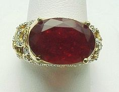 14k Yellow Gold, Cherry Fire Opal, Ruby & Diamond Ring ~ Circa 1995