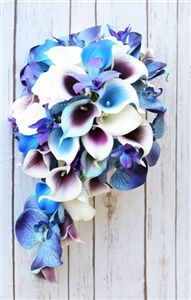 Natural Touch Purple, Teal and Off White Callas and Purple Blue Orchids Silk Cascading Bouquet Cascading Wedding Bouquets, Silk Flower Bouquets, Cascade Bouquet, Flower Bouquet Wedding, Bridal Bouquets, Blue Orchid Bouquet, Green Orchid, Purple Orchids, Purple Teal