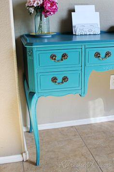 Benjamin Moore Cerulean Blue- sewing table
