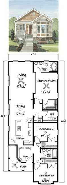 Almost Perfect. just swap kitchen/dining with living, stretch whole house longer to double the size of utility/mud room with a door straight through to master walk in robe & add a tiny powder room & walk-in (for cats) & finally, create a massive outdoor Bedroom Layouts, House Layouts, Bedroom Ideas, Small House Plans, House Floor Plans, Rectangle House Plans, Home Design, Narrow Bedroom, Narrow Closet