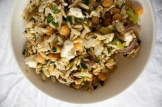 I don't like mint, so rosemary it is!  Orzo Salad with Chickpeas and Feta. Lentils would sub nicely too.