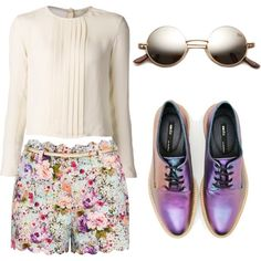 Purple Floral by gcruzlisboa on Polyvore featuring polyvore, fashion, style, rag & bone, Forever New and Miista