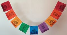 "Om, Lotus Prayer Flag. All proceeds to families in Mexico. Free domestic shipping. Two symbols that resonate deeply, a gift to the West from Eastern culture. This prayer flag has the OM symbol with the quote, ""OM- the primordial sound by which the earth was created. The past, present, and future are all blended in this one, all inclusive, sound."" It also has a lotus flower and the quote, ""Lotus flower, growing from the mud and blooming toward the sky, resurrection, purity, awakening..."