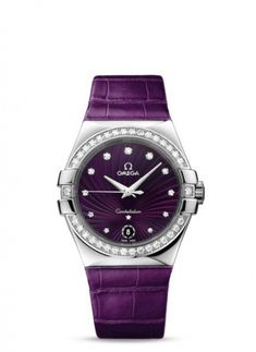 Women Omega Constellation Quartz 35mm purple leather diamond luxury watch. My favorite color and I've always wanted an Omega.