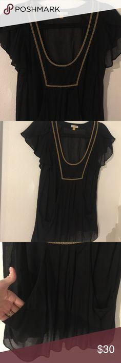Leifsdottir Black Blouse Delicate black Blouse with gold braid trim by Leifsdottir. Anthropologie brand. Low scoop cut and slouchy pocket details. Anthropologie Tops Blouses